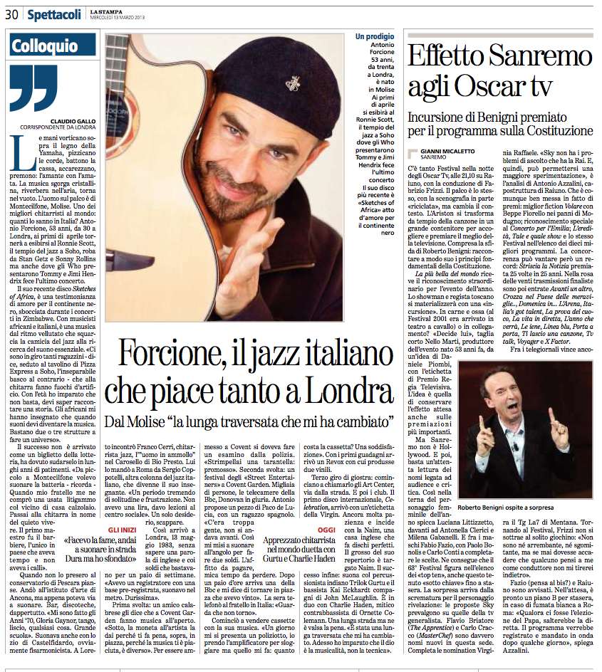 La STAMPA 3.3.13 ( Italian National newspaper )