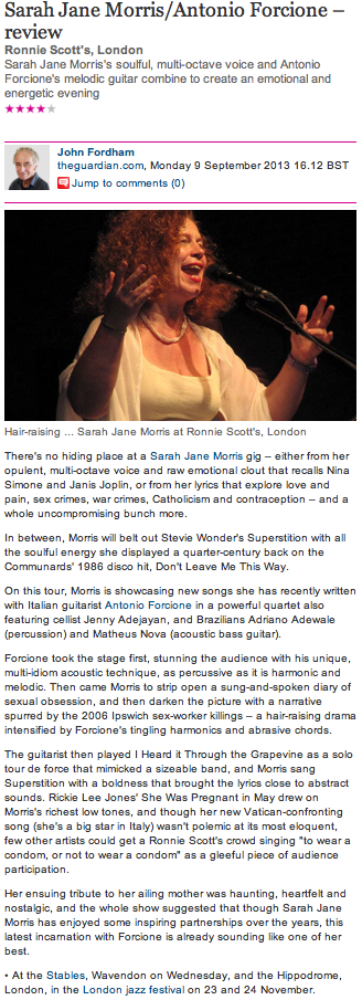 The Guardian 4 Star Review - Sarah J Morris & Antonio Forcione